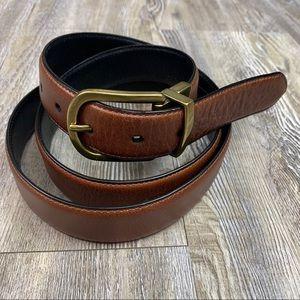 Reversible Brown Black Belt with Brass Tone Metal